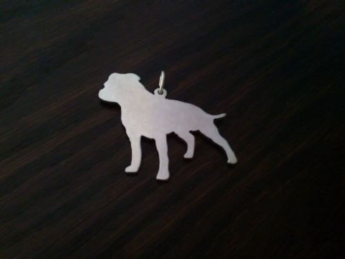 staffie dog pendant sterling silver handmade by saw piercing Caroline Howlett Design
